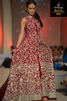 red and silver anarkali