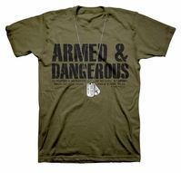 Armed & Dangerous Dogtags Christian T-Shirt by Kerusso   Picked them up for Matthew today!  Love this brand clothing