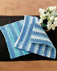 The most basic and easy knit dishcloth pattern. Measures approx. 10 ins [25.5 cm] square. Shown in Bernat Handicrafter Cotton Stripes 21143 Country Stripes. Size 5.5 mm (U.S. 9) knitting needles.