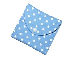 Light blue polka dot pad wrapper wet bag for cloth pads, menstrual cup, Mother's Day Gifts