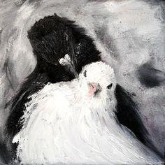 Голубки, Картина маслом, 20х20см – купить или заказать в интернет-магазине на Ярмарке Мастеров | Картина выполнена на холсте маслом.#doves #деньсвятоговалентина #влюбленные #lovers #gift #paintings