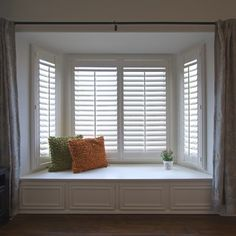 Shop Home Decorators Collection DIY Composite Wood Shutter Interior Shutters at TheHomeDepot. Get free samples here. Interior Shutters, Wood Shutters, Bay Window Shutters, Bay Window Curtains, Bay Window Decor, Wood Doors, Home Remodeling Diy, Home Renovation, Rideaux Du Bow Window