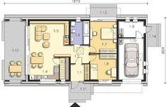 Lancaster II DCB104a - Rzut parteru Bungalow, Lancaster, Floor Plans, How To Plan, Dreams, Houses, Floor Plan Drawing, Rambler House