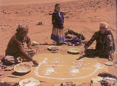 Navajo Sand Painting. The Holy People (gods) instructed the Diné (Navajo) in the ceremonies and uses for certain chants, along with the creation of intricate paintings made of various materials. The Navajo art of Sandpainting began as a spiritual healing system rather than art for art's sake.