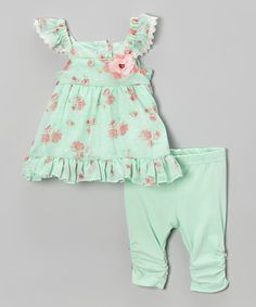 Loving this Mint & Pink Floral Angel-Sleeve Dress & Leggings - Infant on #zulily! #zulilyfinds