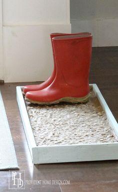 DIY Cobblestone Boot/Shoe Tray - Provident Home Design