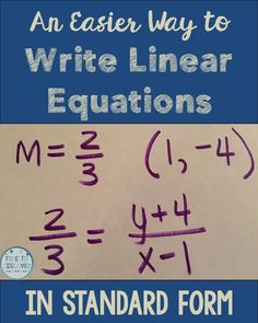 As a mathematician, I am thankful for shortcuts. I think part of the reason that I have always loved math so much is because I recognize and implement shortcuts. I love to look for patterns in numbers and procedures. I try to share these tips and tricks with my eighth grade math students whenever I can. Here's an easier way to write linear equations in Standard Form. By Free to Discover.