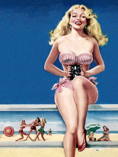 Pin-up girl girl beach fun, complete with a camera. #vintage #pinups #summer #beach