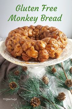 Free Monkey Bread - This delicious, gooey Monkey Bread will impress everyone at your next brunch! -Gluten Free Monkey Bread - This delicious, gooey Monkey Bread will impress everyone at your next brunch! - Untitled Gluten Free Cutout S. Gluten Free Deserts, Gluten Free Sweets, Gluten Free Breakfasts, Foods With Gluten, Gluten Free Baking, Dairy Free Recipes, Vegan Gluten Free, Gluten Free Monkey Bread Recipe, Gluten Free Cinnamon Rolls
