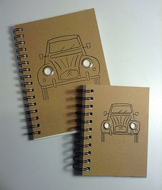 NEW BIG 2CV illustrated cover A5 notebook with chunky brass eyelets on Etsy, £8.95