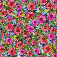 Vintage flowers, digitally printed fabric
