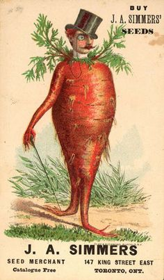Bizarre Vintage Ads Carrot Man - Not sure the seeds are for growing carrots. Vintage Printable, Vintage Labels, Vintage Ephemera, Vintage Cards, Vintage Images, Vintage Posters, Flowers Illustration, Illustration Art, Vegetable Illustration