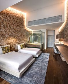 Loke Thye Kee Residences is situated in the heart of Georgetown Penang, one of 5 Malaysian UNESCO world sites rich in heritage. MOD's design draws inspiration from this heritage and specifically the historic Loke Thye. Boutique Hotel Room, Wall Design, House Design, Brick Design, Design Design, Design Ideas, Hotel Room Design, Hotel Restaurant, Hotel Decor