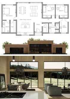 House Plan Modern House Plan to Modern Family. House Layout Plans, New House Plans, Dream House Plans, Modern House Plans, Small House Plans, House Layouts, House Floor Plans, Modern Floor Plans, Small House Design