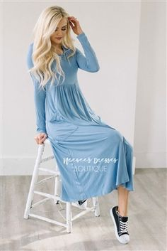 Dusty Blue Pockets Casual Modest Dress, Church Dresses, dresses for church, modest bridesmaids dresses, best modest boutique, modest clothes, affordable modest clothes, cute modest dresses, maxi dress, floral dress, dresses with sleeves