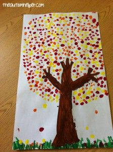 Q-Tip Painting - Fall Trees!