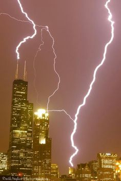 Sears Tower, Hancock Lightning Strike in Chicago.