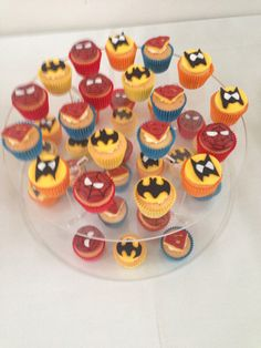 Mini superhero cupcakes by Purple Icing How To Make Cake, Icing, Cupcakes, Superhero, Purple, Desserts, Food, Tailgate Desserts, Deserts