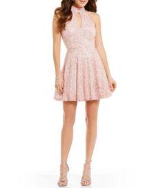 02294700c29 B. Darlin Choker Neckline Lace Skater Dress