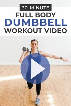 This circuit workout consists of 16 strength training exercises using dumbbells to work every muscle group in 30 minutes. Full Body Strength Workout, Full Body Dumbbell Workout, Full Body Workout At Home, Home Workout Videos, At Home Workouts, Exercise Videos, Men Exercise, Cardio Training, Strength Training Workouts
