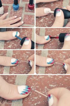 """Easy & Cool Nail Art Idea! ~ i would guess that it is done ONE nail at a time! {so the white does not dry too much b4 the """"spray"""" is done}"""