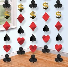 Each string is 213 cm long Casino Party Decoration. A great decoration for casino parties and card nights. Las Vegas Party, Vegas Casino, Vegas Theme, Casino Night Party, 80s Party, Casino Party Decorations, Casino Theme Parties, Party Themes, Hanging Decorations