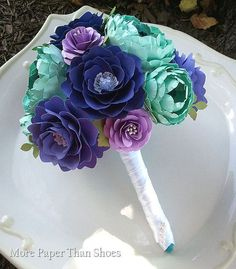 paper flower bouquet | Handmade Paper Flowers - Wedding Bouquet - Purple - Teal - Sea Foam ...