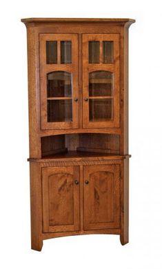 Antique Reclaimed Barn Wood Corner Hutch Cabinet Upper Glass - Corner dining room hutch