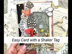 Easy Card with a Shaker Tag for Nomadic Soul Diaries April Challenge, Monthly Challenge, Split Coast Stampers, Diaries, Mixed Media, Challenges, Scrapbook, Make It Yourself, Personalized Items