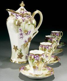 A hand painted Nippon Chocolate Set Chocolate Pots, Chocolate Coffee, Tea Cup Saucer, Tea Cups, Tea Pot Set, Pot Sets, Teapots And Cups, Tea Service, Vintage Dishes