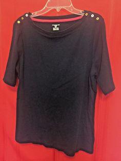 Jones New York Sport Navy Short Sleeve Top Size XL 100% Cotton 3 button shoulder #JonesNewYork #KnitTop
