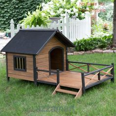 Lodge Dog House Weather Resistant Wood Large Outdoor Pet Shelter