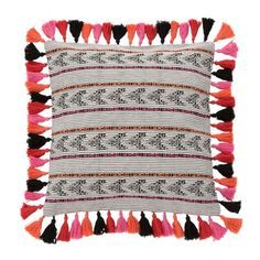 Embroidered Throw Pillow with Tassel Trim