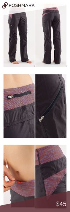 Lululemon Run: Travel To Track Pant the lightweight Swift fabric is coated with DWR (that's Durable Water Repellent) stash your cards in one of three secure zipper pockets chafe-resistant flat seams let you focus on your practice the wide, moisture-wicking waistband supports and covers a continuous drawcord helps to keep pants in place reflective details add reflectivity in low light the drawcord in the hem helps keep cuffs above, gently worn no stains or holes... rise: medium leg fit…