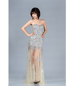 Champagne Strapless Sequin Prom Dress 2015 Prom Dresses *** Click image to review more details.