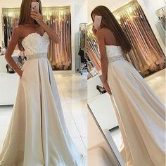 A LINE EMPIRE WAIST LACE LONG EVENING PROM DRESSES WITH POCKET