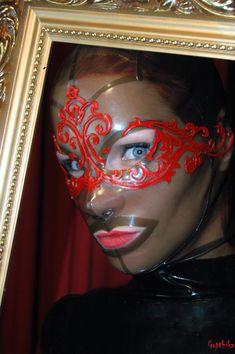 The Opéra MKL Latex Hood made by Miss Kinky latex use Polymorphe Latex, Pic: Gottika, Model: Sunshine Latex Hood, Kinky, Carnival, Halloween Face Makeup, Sunshine, Couture, Lace, Model, High Fashion