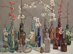 Lucy Culliton, Japonica III, oil on canvas, 80 x 110 cm. Collection of Duncan & Cath Smith. Contemporary Australian Artists, Contemporary Art, Art Floral, Still Life Artists, Types Of Painting, Bottle Art, Flower Art, Art Flowers, Cool Art
