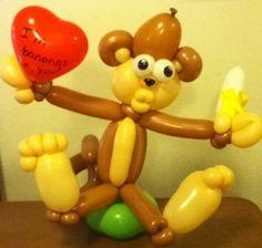 monkey balloon, with lips, banana, heart and big feet