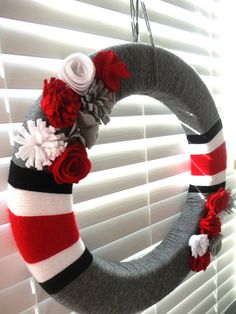 18 OSU wreath - customized sports wreath - Ohio State Buckeyes or your team. $54.99, via Etsy.