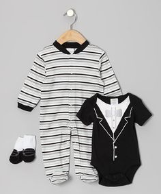 Take a look at this Black Tuxedo Footie Set by Baby Gear on #zulily today!