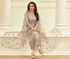 Tranquil Full Sleeves Ceremonial Suit with Glossy Zari, Thread Embroidery and Stone Work