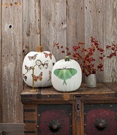 neat idea- vinyl decals over white painted pumpkins