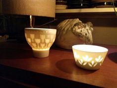 Left Rörstrand tea candle holder and right Arabia's rice porcelaine sugar bowl. Tea Candle Holders, Tea Candles, Sugar Bowl, Cosy, Rice, Mugs, Retro, Tableware, Vintage