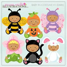 SALE Baby In Costume - Dark Skin - Cute Digital Clipart for Card Design, Scrapbooking, and Web Design Cute Costumes, Baby Halloween Costumes, Baby Costumes, Baby Bee Costume, Bunny Costume, Flower Costume, Butterfly Costume, Embroidery Tools, Embroidery Patterns