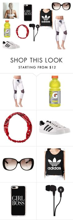 """""""Untitled #817"""" by lollipopwhiskers on Polyvore featuring Chichi Active, Carole, adidas, Gucci, Casetify, Skullcandy, cute, boss, sporty and girl"""