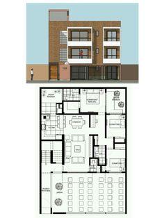 Pinterest: @claudiagabg | Edificio 3 pisos 3 apartamentos 3 cuartos 2 con terraza frontal