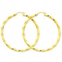 14K Gold Polished 3mm Twisted Hoop Earrings