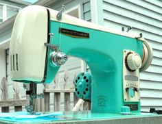 Turquoise Vintage Sewing Machine 1950's with by LittleBlueHouseMod, $350.00