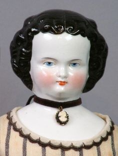 "Superb All Original 16"" Antique China Lady In Rich Wool Striped Dress"